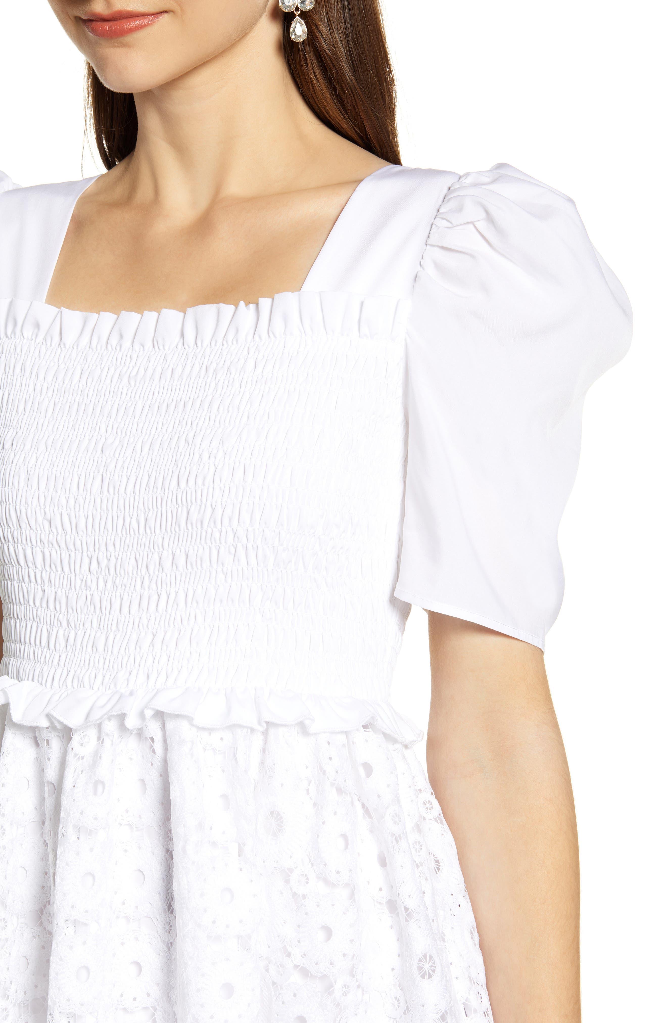 ,                             Smocked Waist A-Line Dress,                             Alternate thumbnail 5, color,                             WHITE