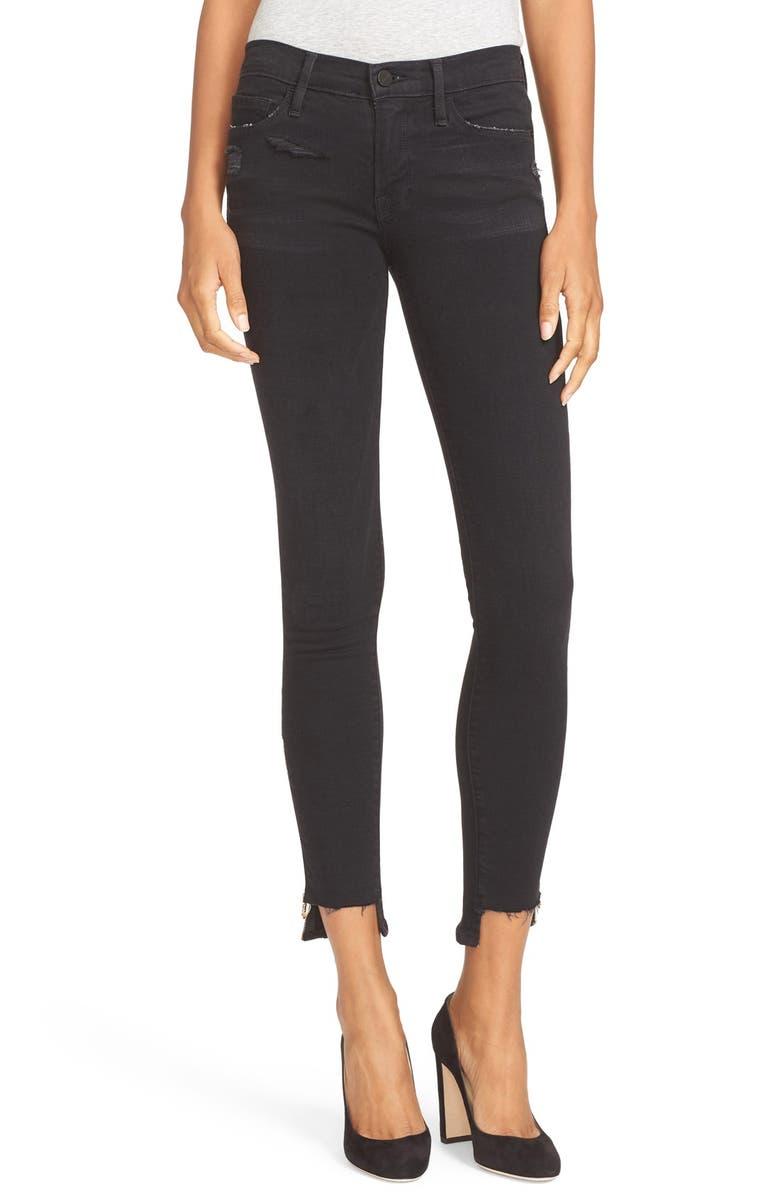 FRAME Staggered Hem Ankle Zip Skinny Jeans, Main, color, 001