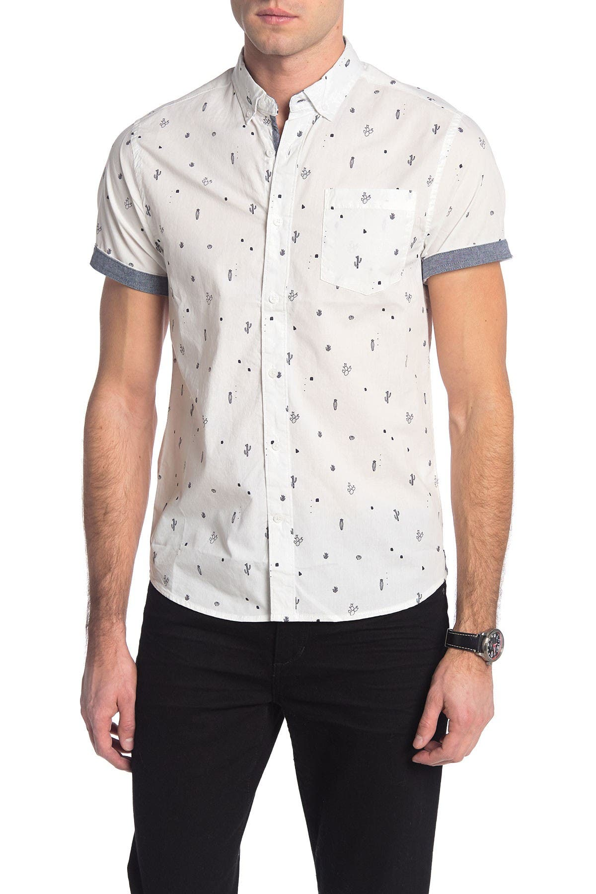 Image of Report Collection Bird Print Short Sleeve Slim Fit Shirt
