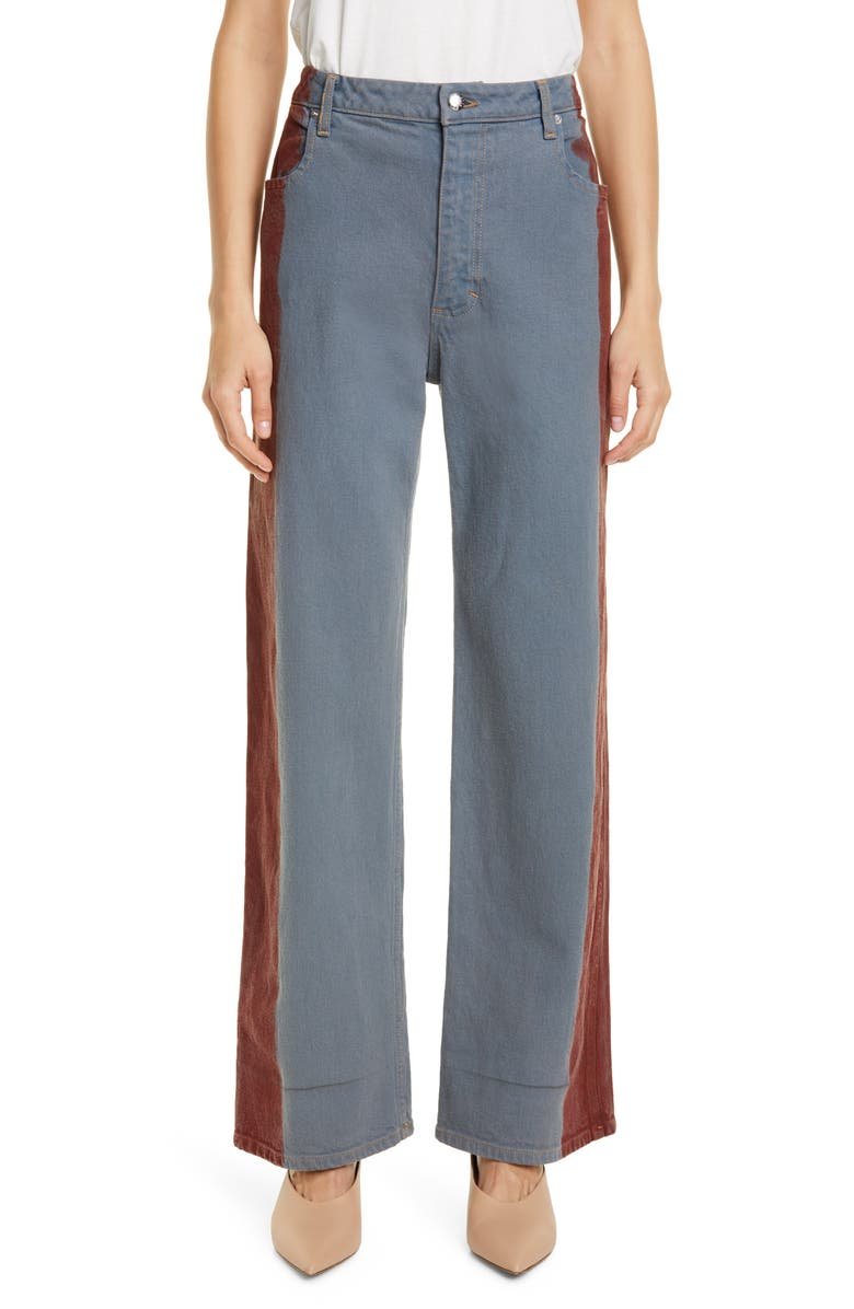 ECKHAUS LATTA Side Stripe Wide Leg Jeans, Main, color, GREY RED TIP