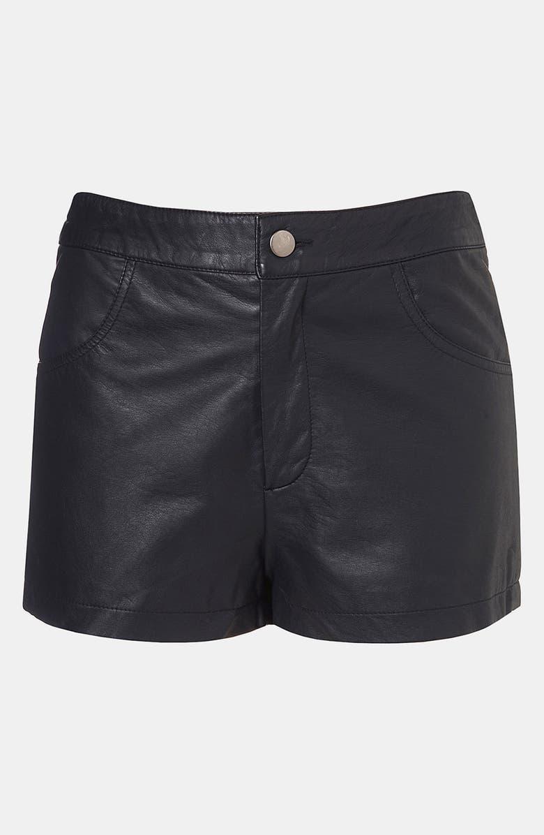 TOPSHOP Faux Leather Shorts, Main, color, 001