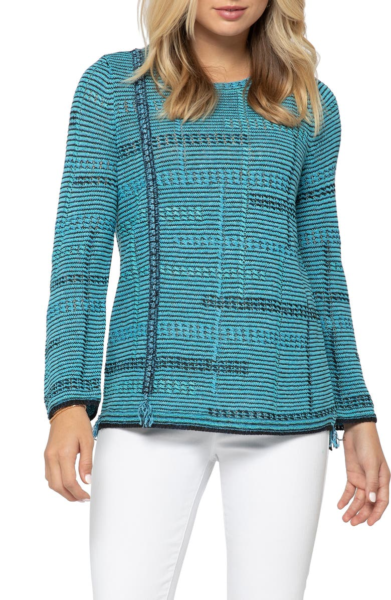NIC+ZOE Line of Work Sweater, Main, color, TURQUOISE