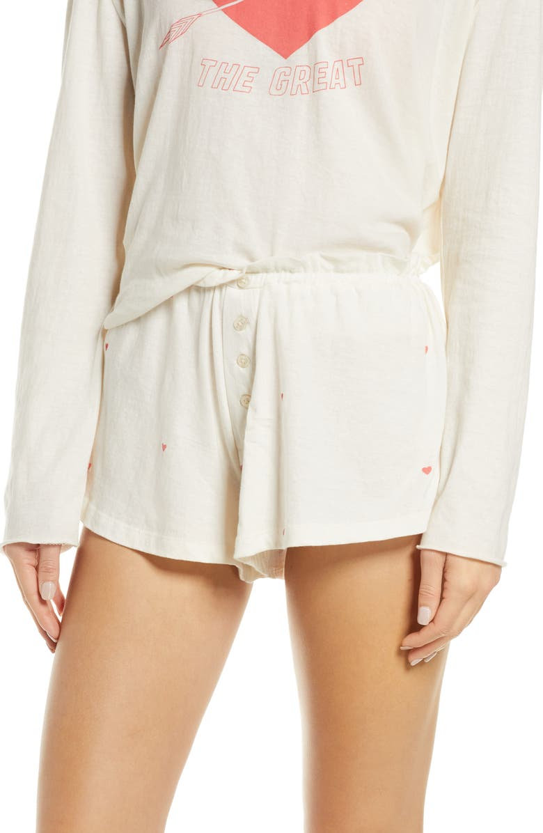 THE GREAT. The Tap Shorts, Main, color, WASHED WHITE VALENTINE HEARTS