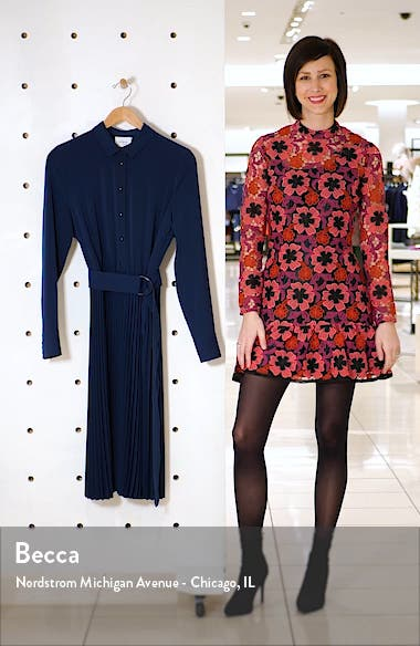 Belted Pleated Long Sleeve Shirtdress, sales video thumbnail