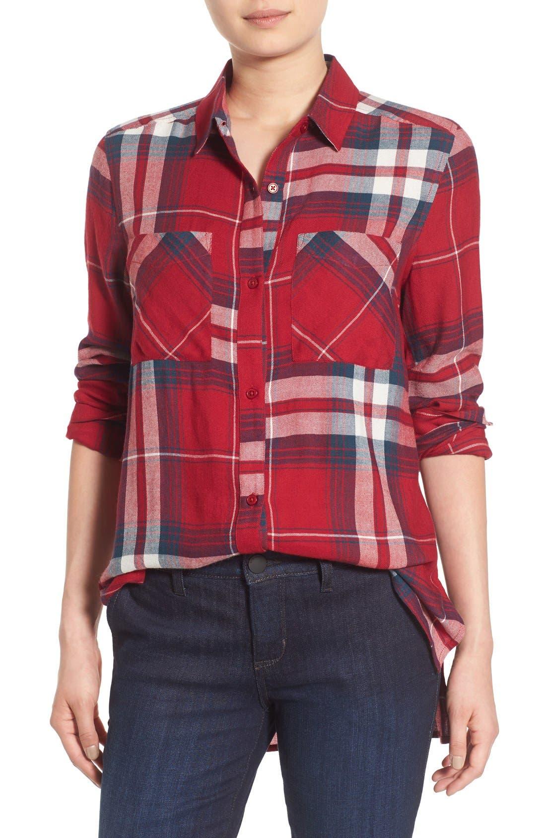,                             Plaid Tunic Shirt,                             Main thumbnail 32, color,                             610