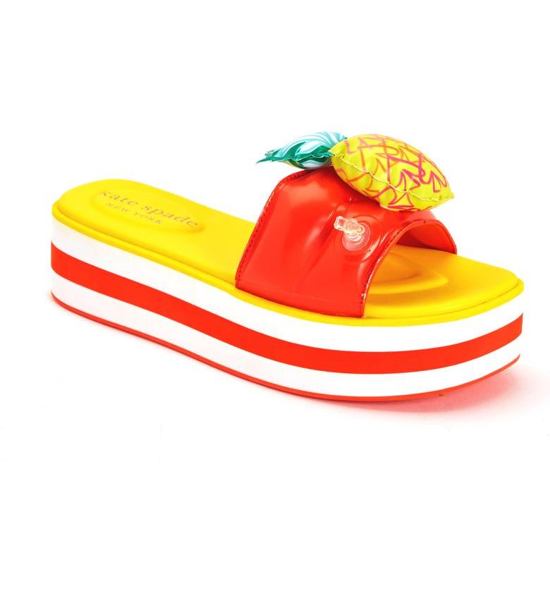 KATE SPADE NEW YORK limoncello platform slide sandal, Main, color, PINEAPPLE