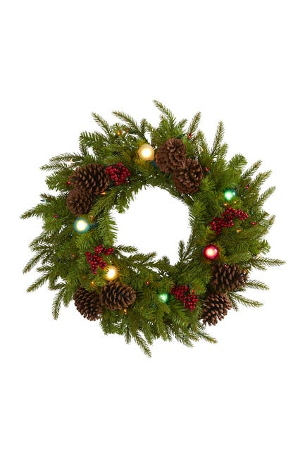 "Image of NEARLY NATURAL 24"" Christmas Light-Up Artificial Wreath"