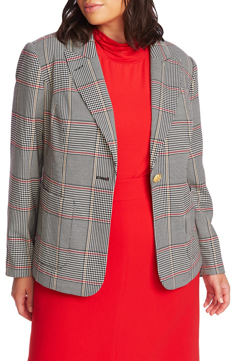 COURT & ROWE Peak Lapel Plaid Blazer, Main, color, RICH BLACK