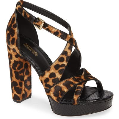 Michael Michael Kors Lorene Genuine Calf Hair Platform Sandal, Brown