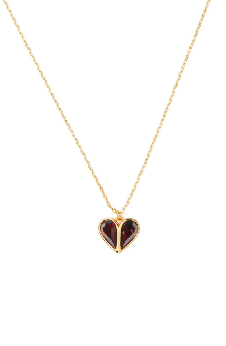 KATE SPADE NEW YORK rock solid mini heart pendant necklace, Main, color, RUBY/ GOLD