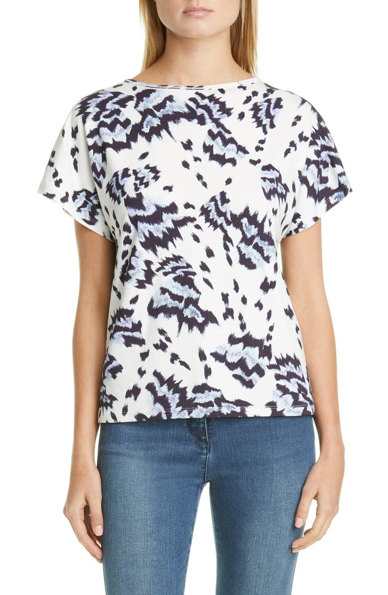 ST. JOHN COLLECTION Painted Butterfly Print Jersey Top, Main, color, WHITE MULTI