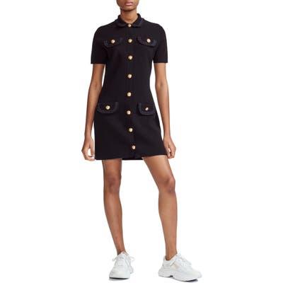 Maje Ravena Brass Button Cotton Minidress, Black