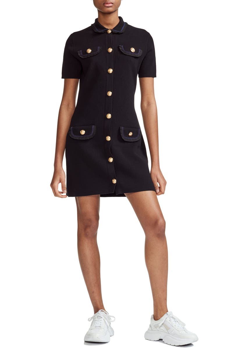 MAJE Ravena Brass Button Cotton Minidress, Main, color, 001