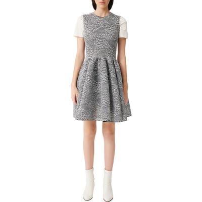 Maje Reinatta Sleeveless Floral Jacquard Fit & Flare Dress, US / 40 FR - Grey