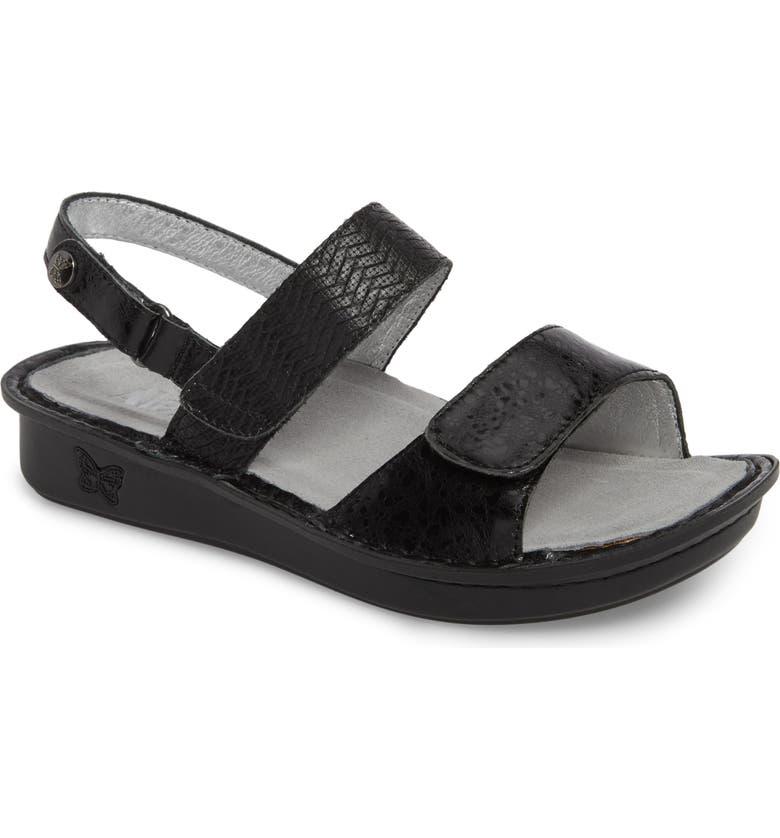 ALEGRIA 'Verona' Sandal, Main, color, BRAIDED BLACK LEATHER