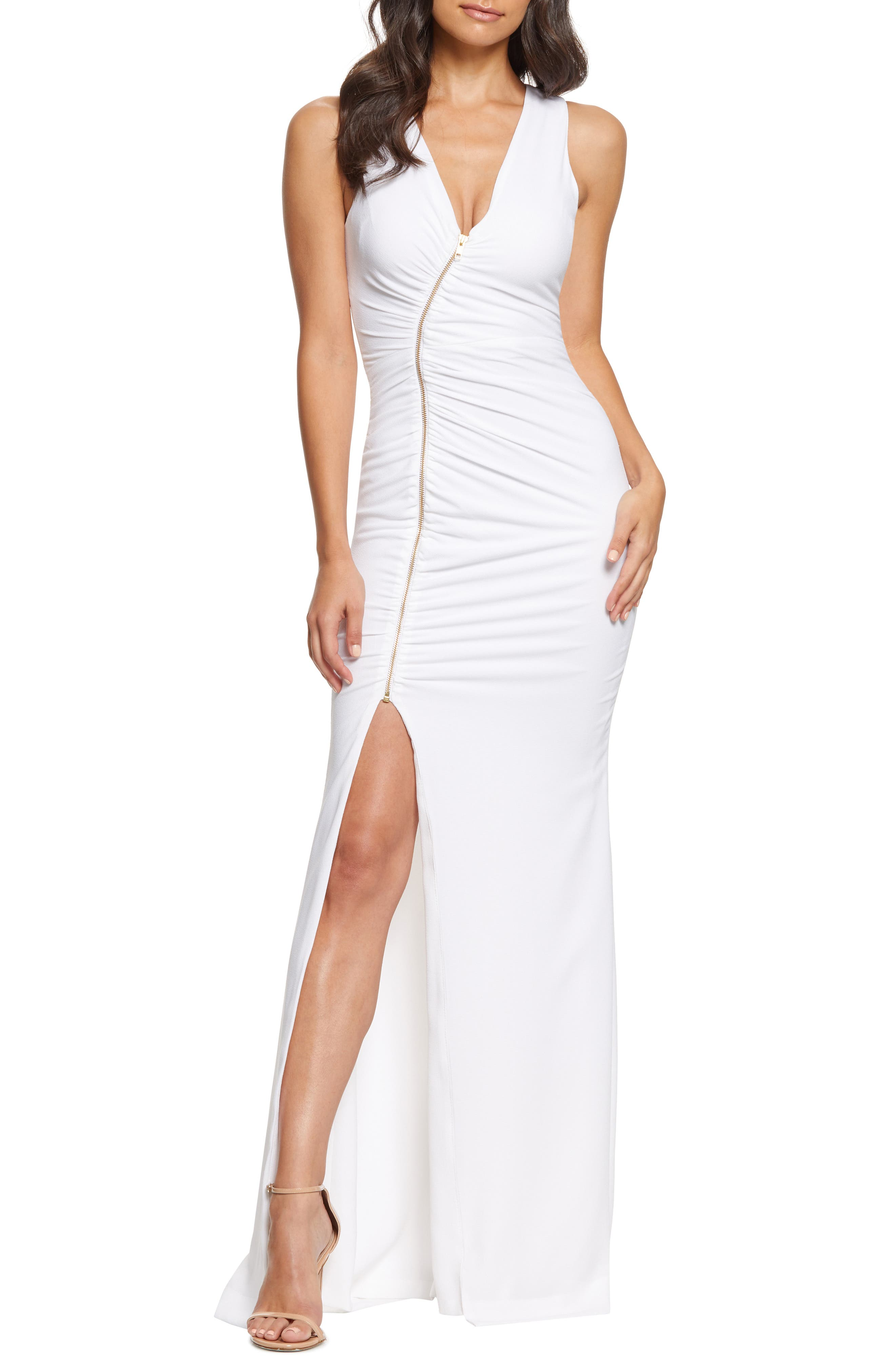 Dress The Population Cher Ruched Zipper Gown, Ivory