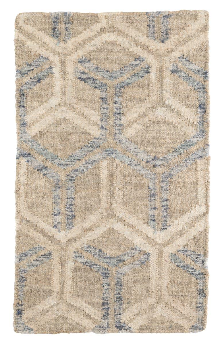 DASH & ALBERT Tala Woven Jute & Cotton Rug, Main, color, BLUE
