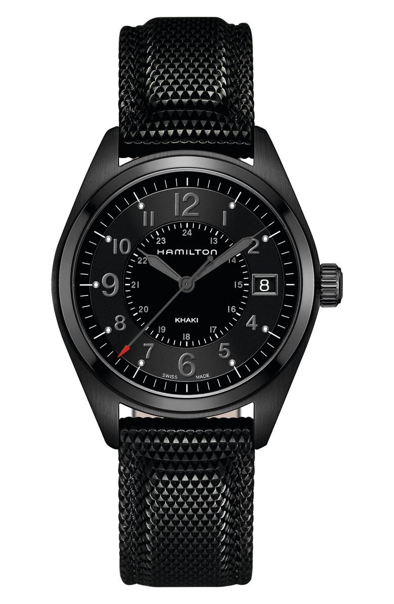 HAMILTON Khaki Field Silicone Strap Watch, 40mm, Main, color, BLACK