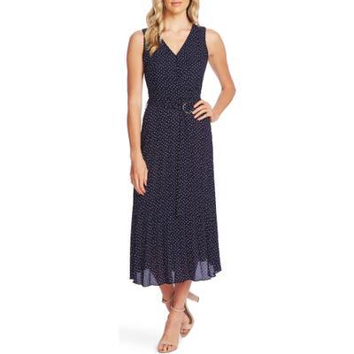 Vince Camuto Ditsy Dot Sleeveless Pleated Midi Dress, Blue