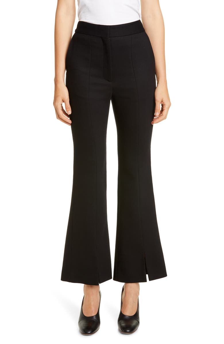 ADAM LIPPES Double Face Bell Crop Pants, Main, color, BLACK
