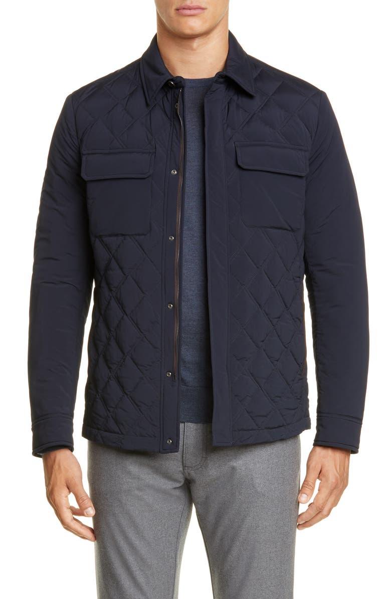 ERMENEGILDO ZEGNA Quilted Down Jacket, Main, color, NAVY