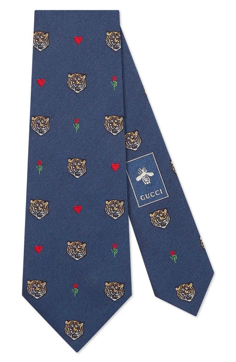 GUCCI Tigerheart Silk Tie, Main, color, 412