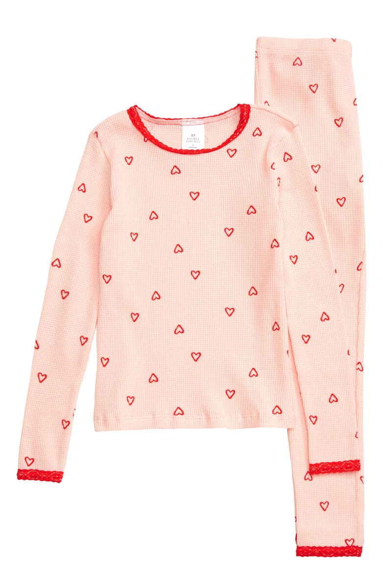 RACHEL PARCELL Thermal Fitted Two-Piece Pajamas, Main, color, PINK VEIL ROSE HEART AMOUR