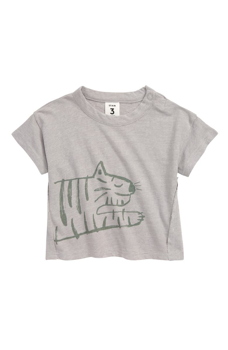 STEM Social T-Shirt, Main, color, GREY SCONCE PAINTED TIGER