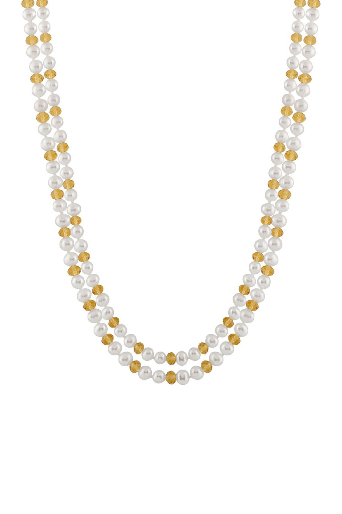 Image of Splendid Pearls Endless Bead & Natural White 6-7mm Cultured Freshwater Pearl Necklace