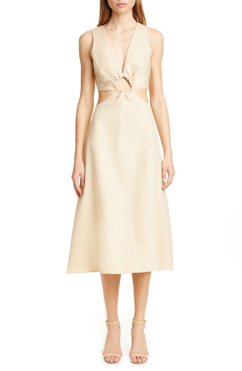 CULT GAIA Cybele Cutout A-Line Midi Dress, Main, color, 250