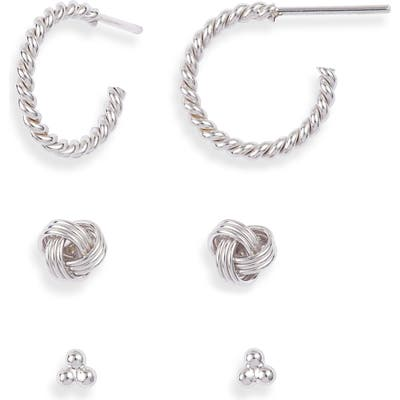 Sterling Forever Love Knot 3-Pack Hoop & Stud Earring Set