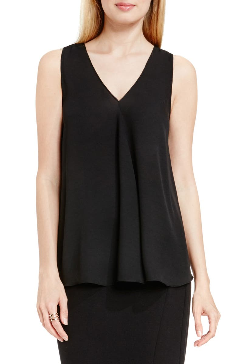 VINCE CAMUTO Drape Front V-Neck Sleeveless Blouse, Main, color, 001