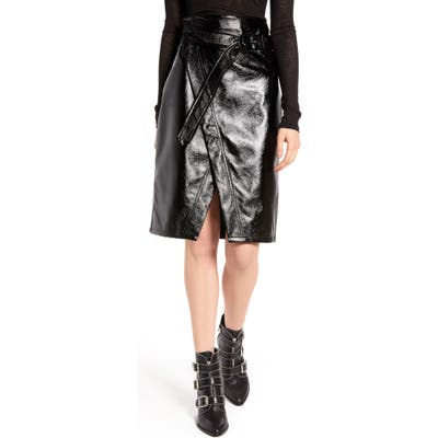 Na-Kd Belted Faux Patent Skirt, US / 4 - Black