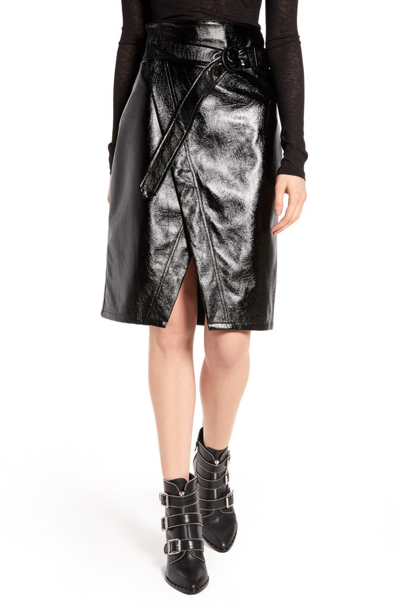 NA-KD Belted Faux Patent Skirt, Main, color, BLACK