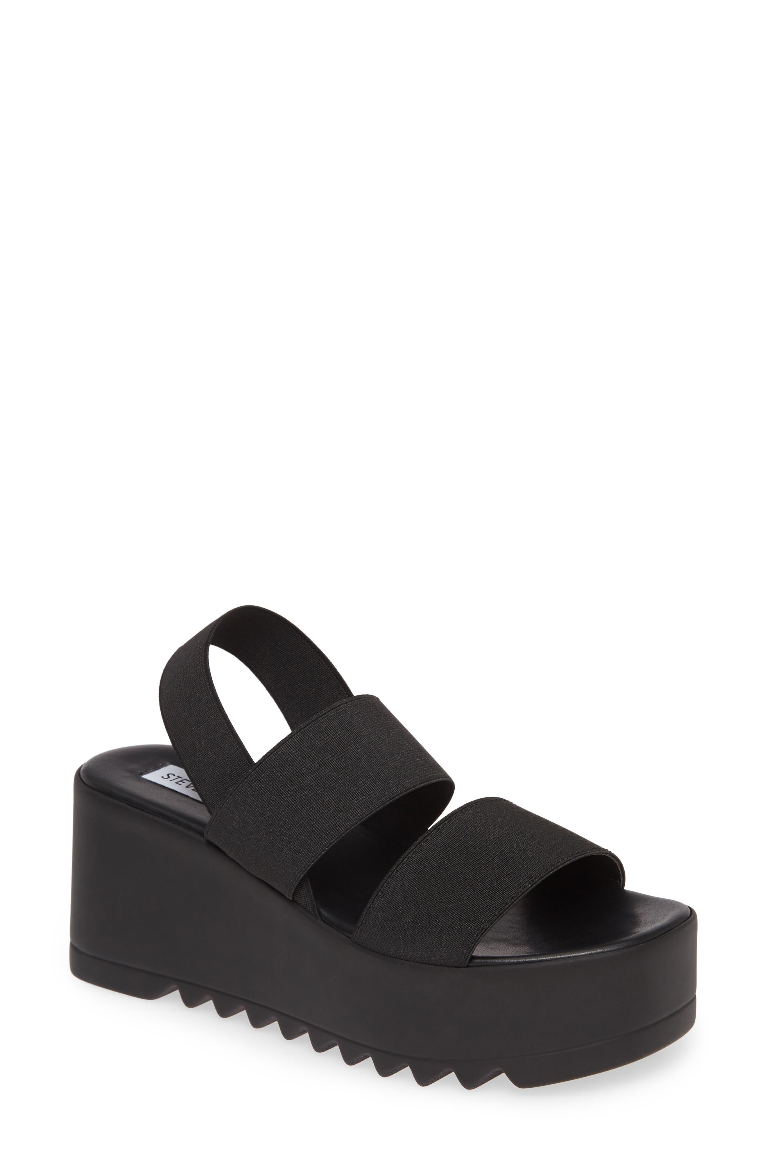 steve madden black and white platform sandals