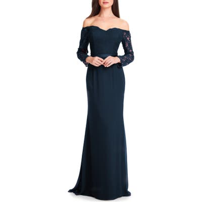 #levkoff Off The Shoulder Three-Quarter Sleeve Gown, Blue