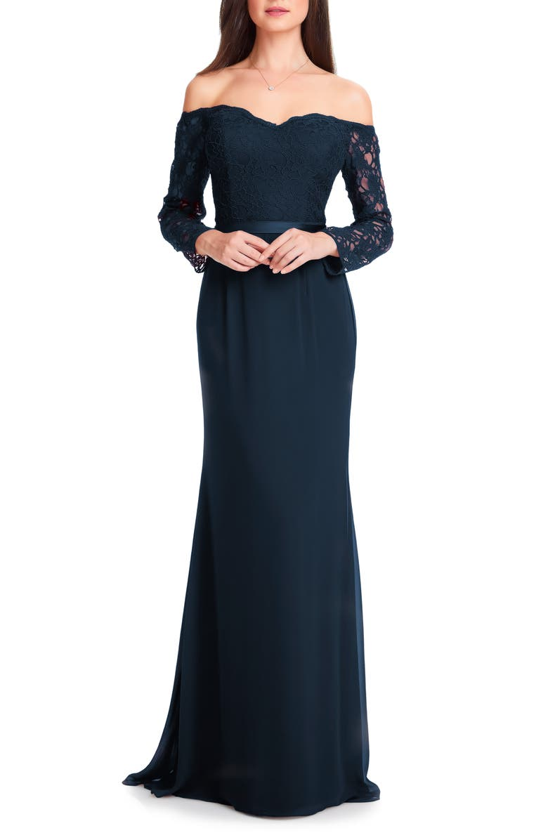 #LEVKOFF Off the Shoulder Three-Quarter Sleeve Gown, Main, color, NAVY