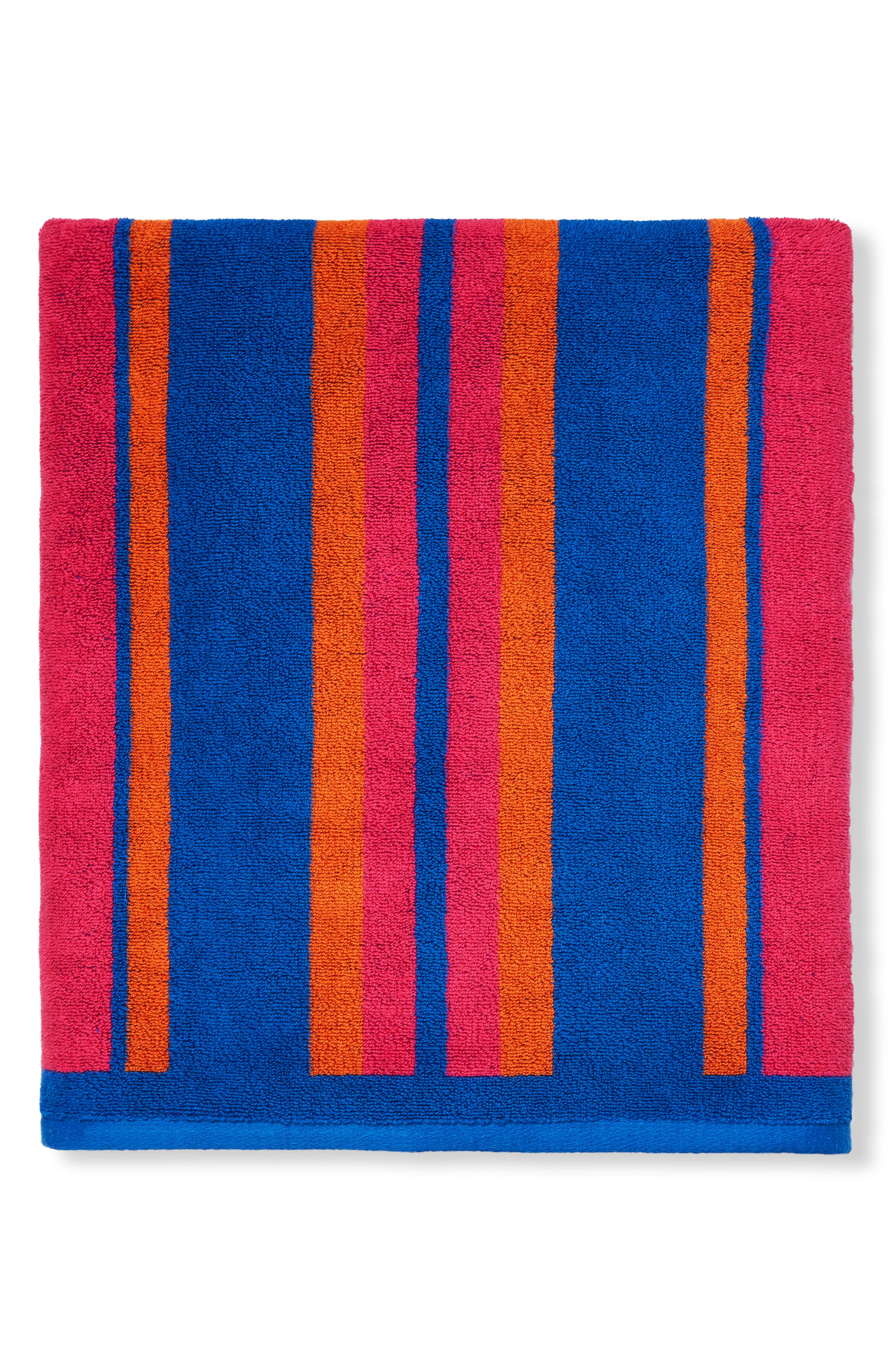 Kahana Stripe Beach Towel, Main, color, RASPBERRY