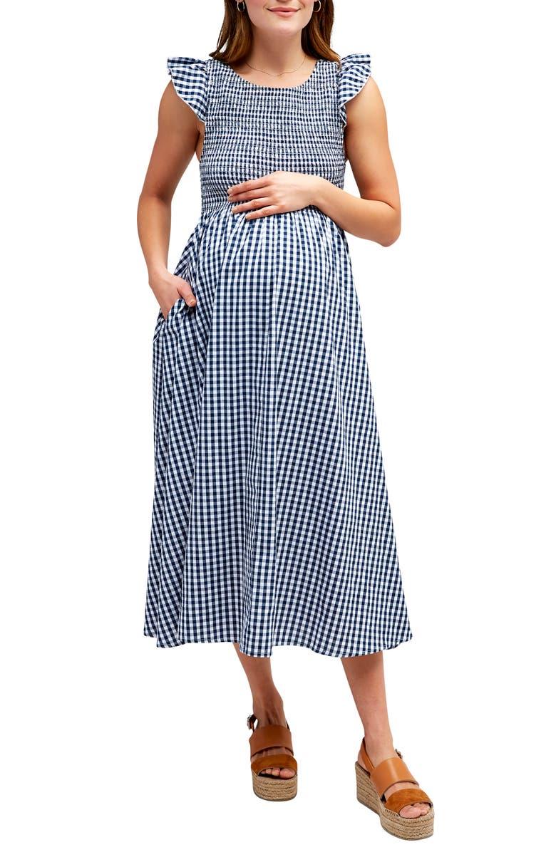 NOM MATERNITY Emma Gingham Check Midi Maternity Dress, Main, color, 400
