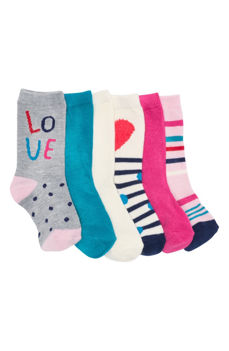 HARPER CANYON Pack of 6 Assorted Crew Socks, Main, color, HEART LOVE PACK