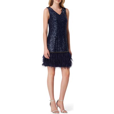 Tahari Sequin & Feather Shift Dress, Blue