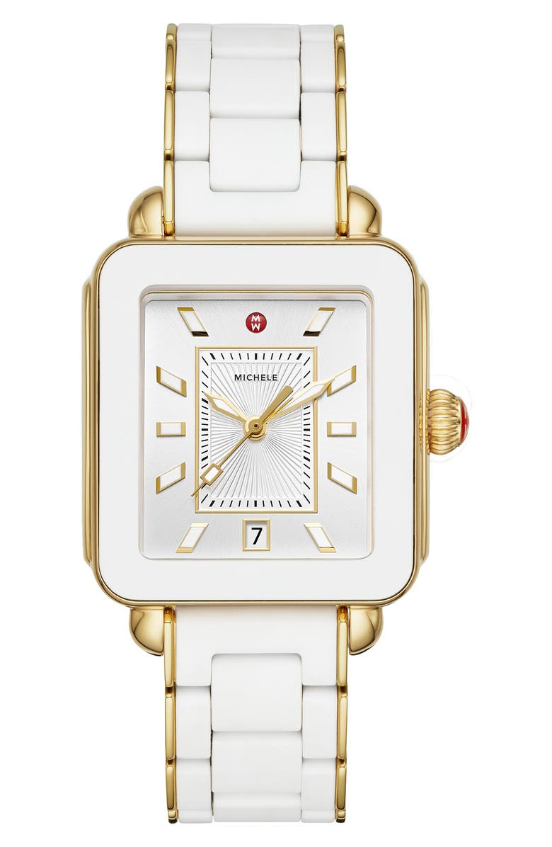 MICHELE Deco Sport Bracelet Watch, 34mm x 36mm, Main, color, WHITE/ SILVER SUNRAY/ GOLD