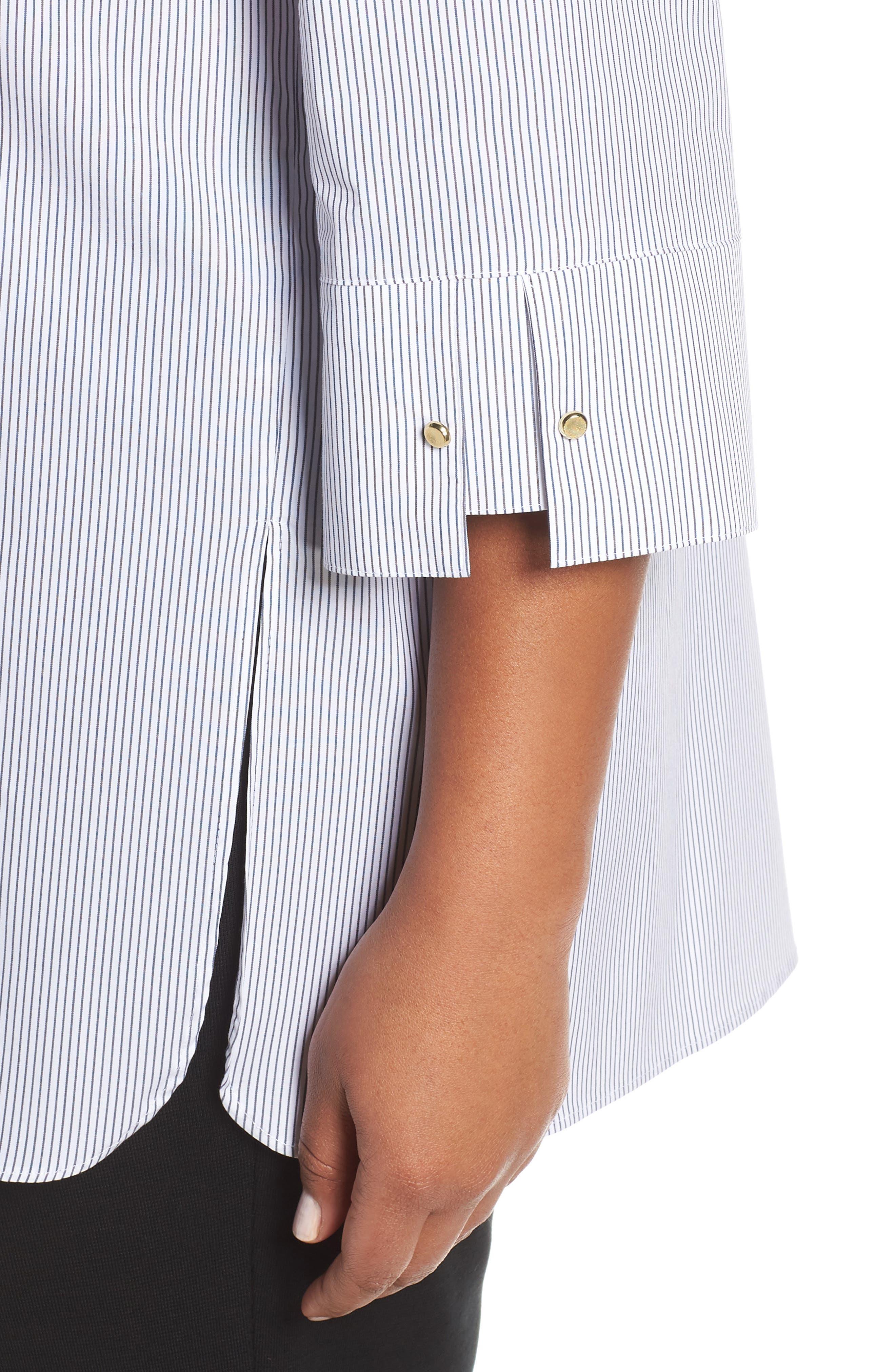 ,                             Ruffle Neck Shirt,                             Alternate thumbnail 4, color,                             BLACK/ WHITE