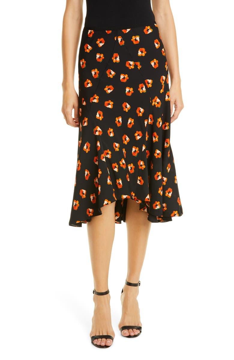 DVF Debra Floral Silk Blend Skirt, Main, color, POLKA DOT FLOWER BLACK
