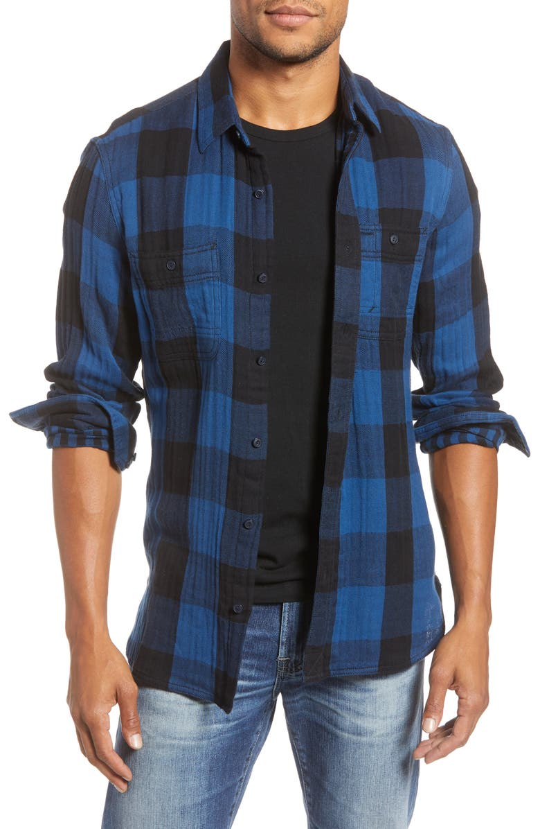 1901 Trim Fit Buffalo Check Button-Up Shirt, Main, color, 420