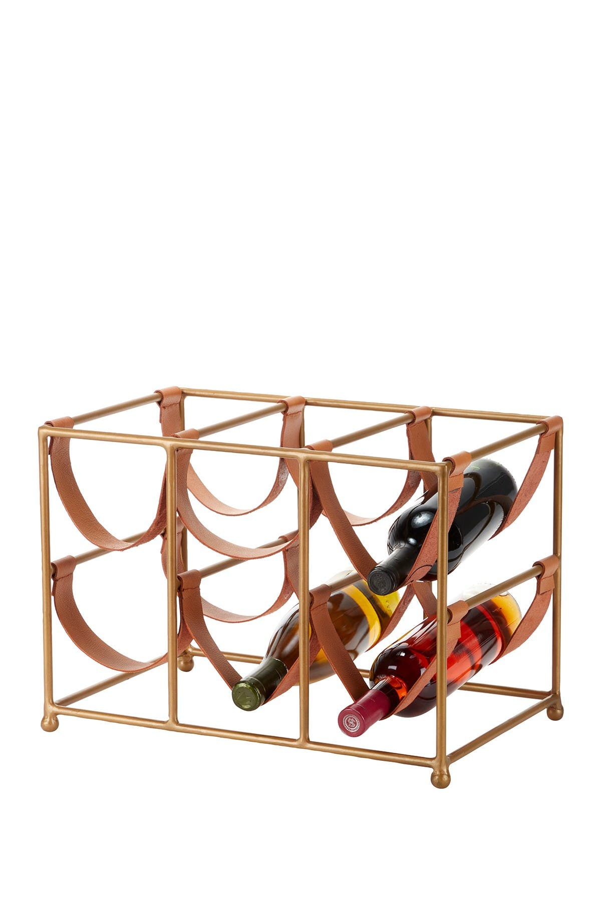 """Image of Willow Row Rectangular Gold Metal And Tan Leather Wine Holder - 17.5"""" X 12"""""""