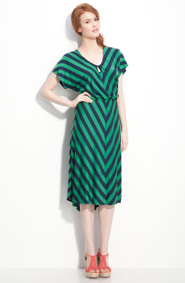 OLIVIA MOON Chevron Stripe Dress, Main, color, GREEN/ NAVY STRIPE