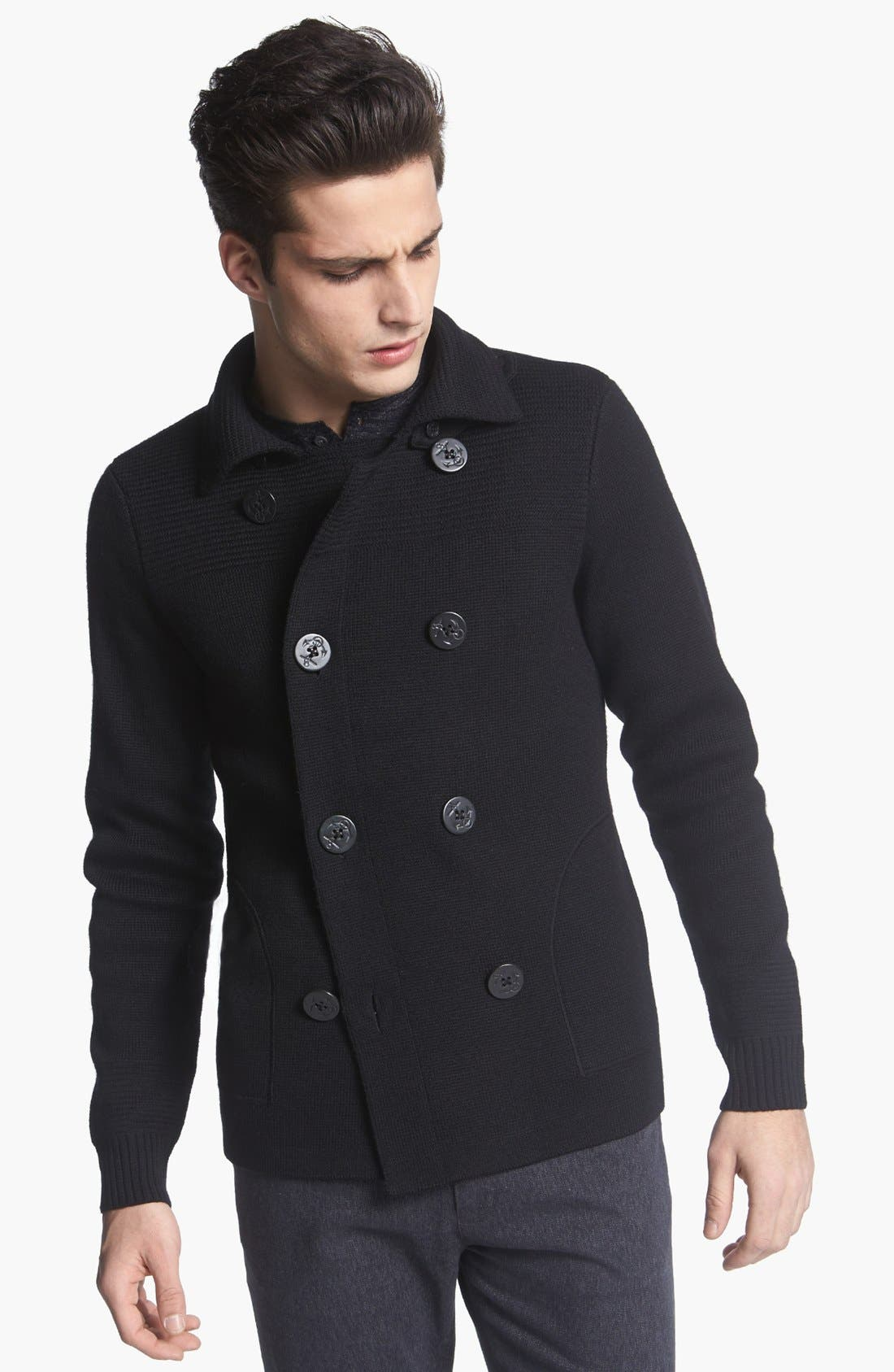 ,                             Pea Coat Sweater,                             Main thumbnail 1, color,                             001