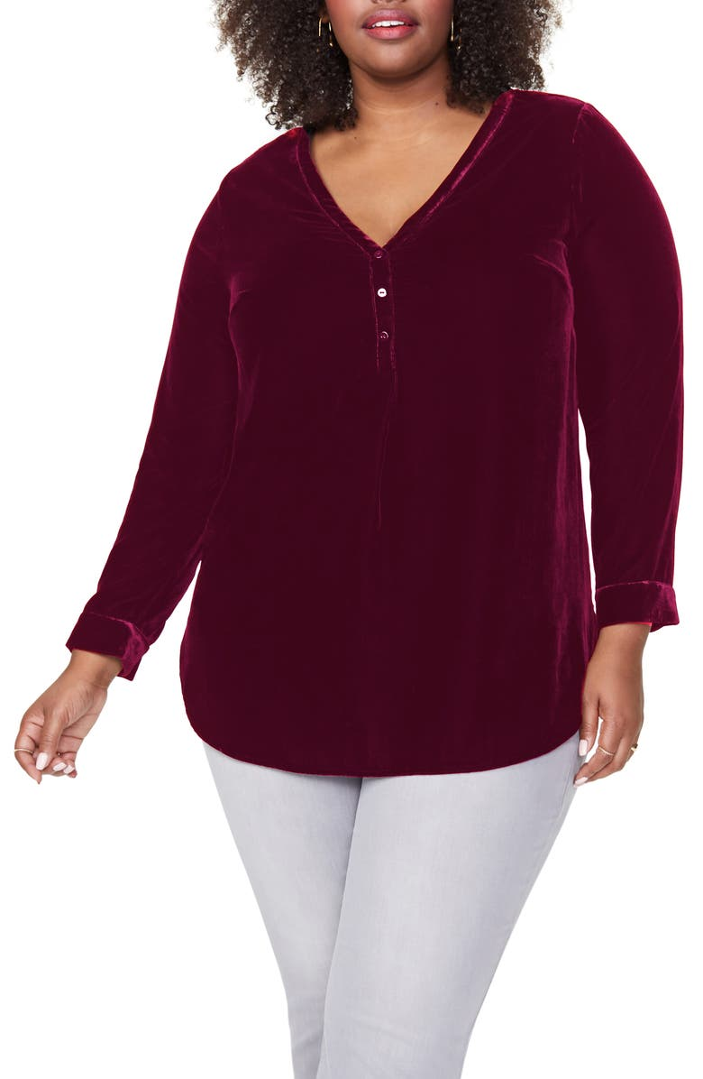 NYDJ Uptown Velvet Tunic Top, Main, color, GRENACHE _ GRENC