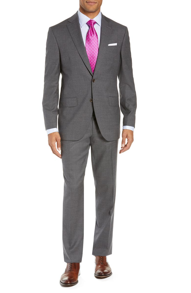 DAVID DONAHUE Ryan Classic Fit Check Wool Suit, Main, color, 020